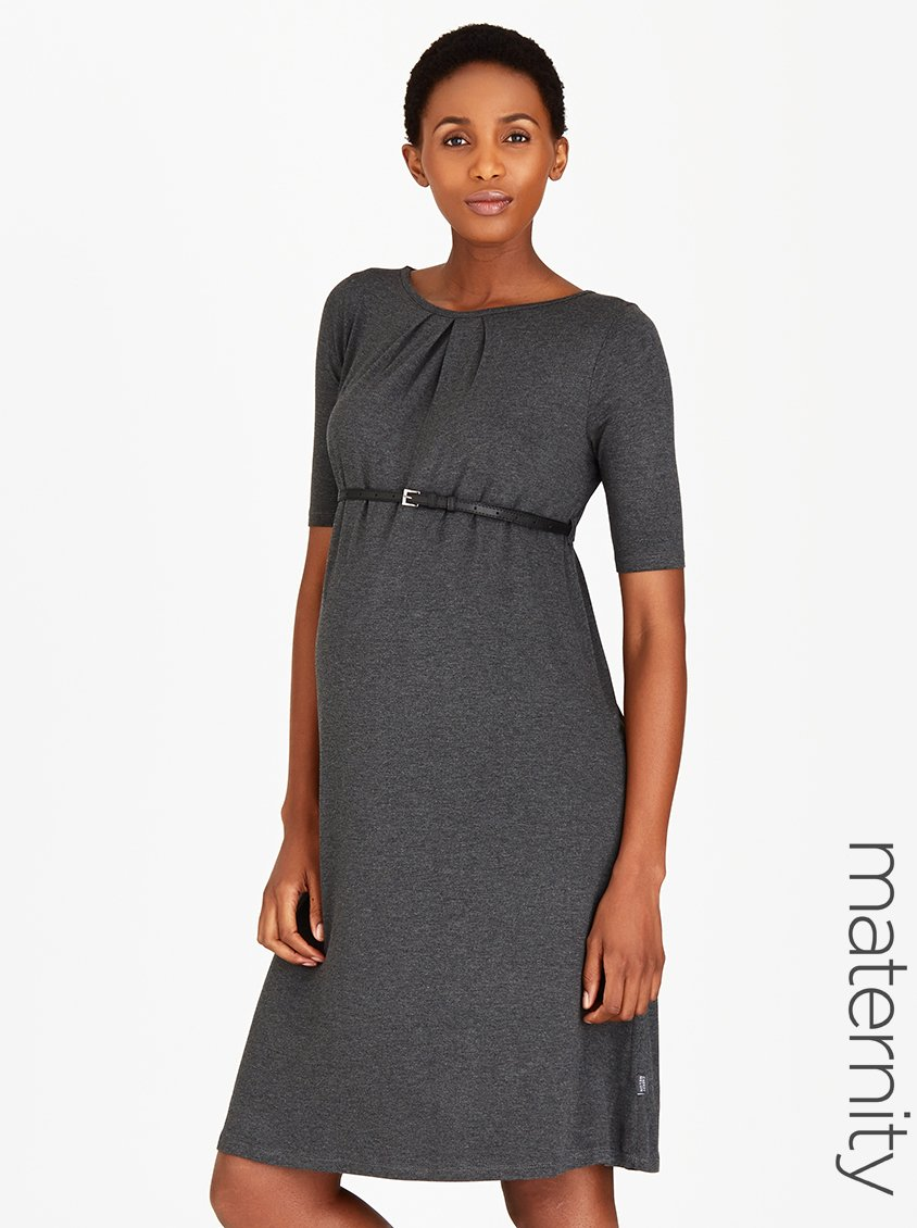 58548a01dcf Maternity Pleat Work Dress - Long Sleeve